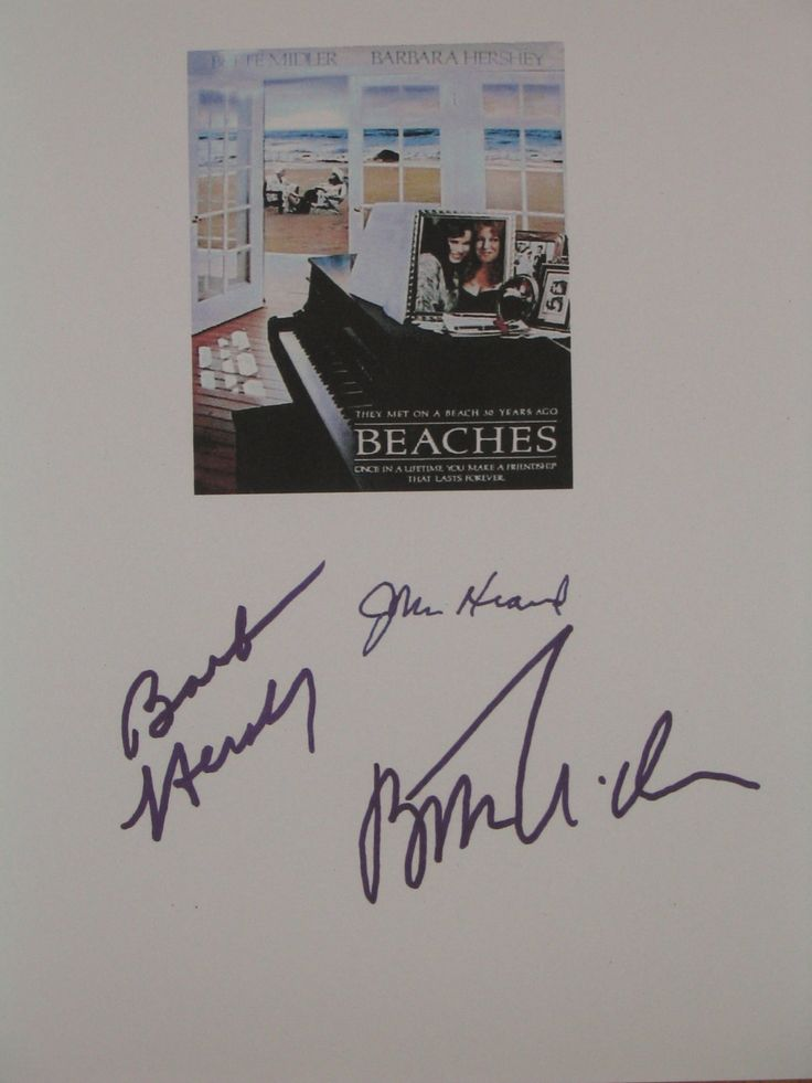 Beaches Signed Movie Film Script Screenplay Autographs Bette Midler Barbara Hershey John Heard signatures classic film by hollywoodmintscripts on Etsy
