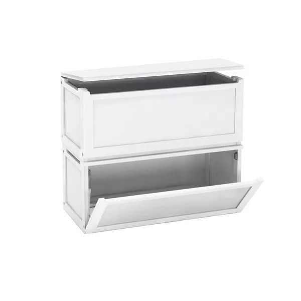 MaxtrixKids | 2 Stacked Toy Storage Boxes : White - Toy Chests - for girls or boys
