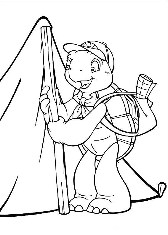 Franklin Set Up A Tent Coloring Pages For Kids Printable
