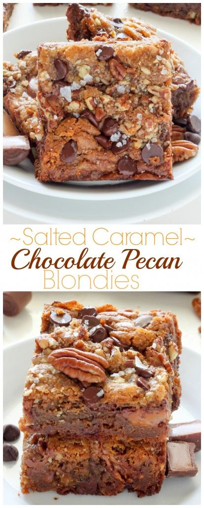 Salted Caramel Chocolate Pecan Brown Butter Blondies - thick, chewy ...