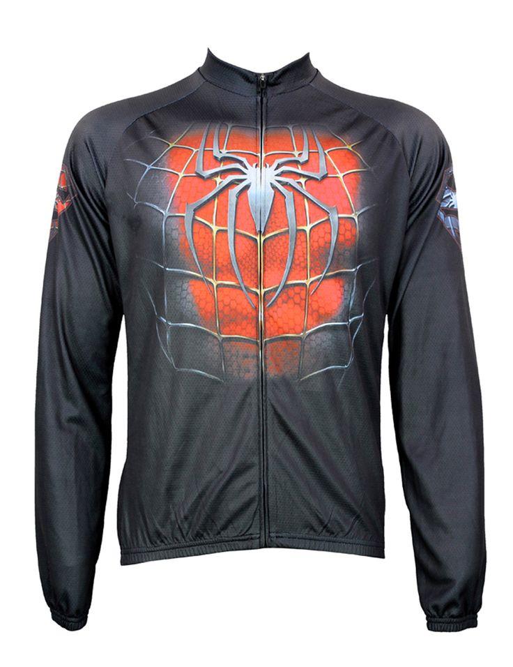 Black/Red Spider Cycling shirt bike equipment Mens Long Sleeve Cycling Jersey Cycling Clothing Bike Shirt Size 2XS To 6XL ILPALA #Affiliate