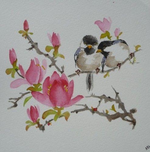 aquarelle,oiseaux,peinture chinoise,abby,watercolor,nature,magnolias