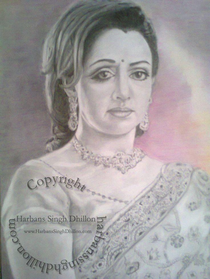 Pencil Sketch Of Hema Malini