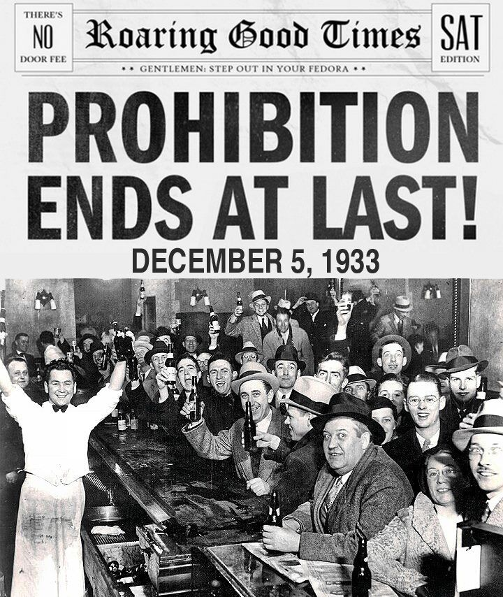 On Dec. 5 1933, the 18th Amendment was repealed, bringing ...