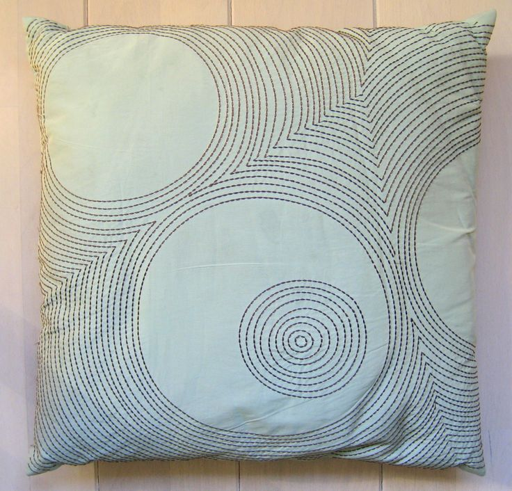 My silky Sashiko embroidered cushion