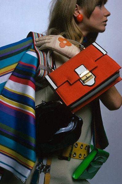Accessories galore ! 1960s fashion . Mod