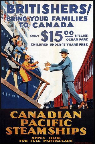 Canadian Pacific emigration for Brits ad from 1929 - passage to Canada was $15/adult and kids were free