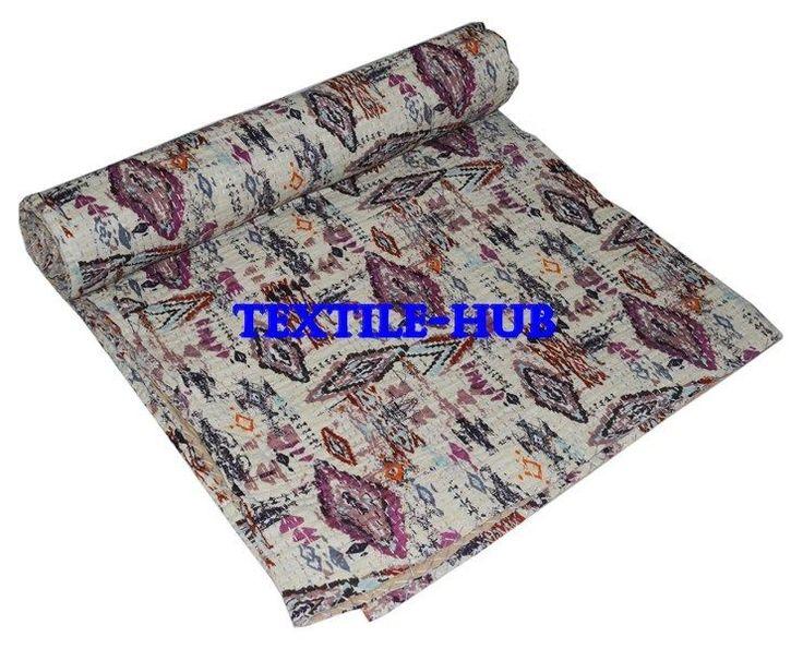 Indian Ikat Kantha Quilt Handmade Bedspread Twin Size Reversible Gudari Blanket #Handmade #Asian