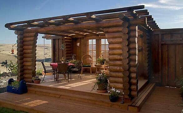 Log pergola home ideas pinterest beautiful patio for Rustic gazebo kits