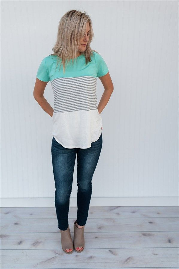 Textured Color Block Top Skinny jeans, gray top with off white silky bottom, nude peep toes booties. <a href=