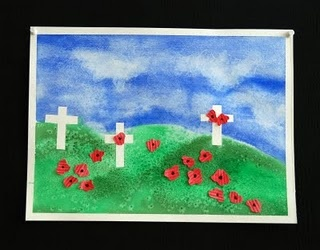Remembrance Day Art, my DD made a similar picture with reverse painting (crosses are tape then removed)