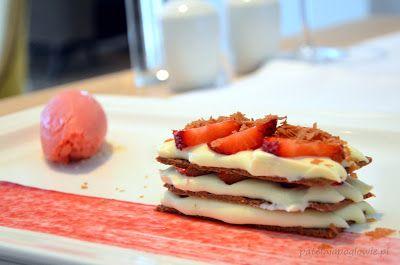 Praline tart with white chocolate & mascarpone cheese mousse and seasonal fruits (Signature Restaurant, Warsaw, Poland).