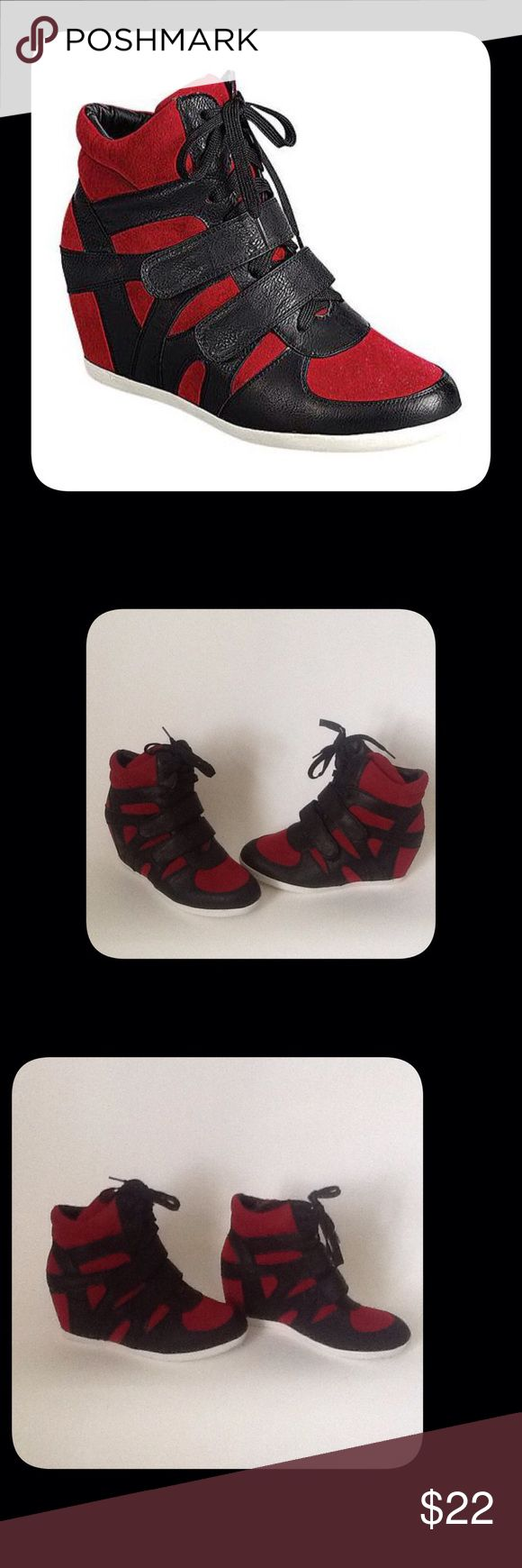 Black/Red Wedge Sneakers These are New and have Never been Worn. To keep Shipping low I will Ship Without the Box!!! Reasonable Offers Only!!! Reneeze Shoes Sneakers