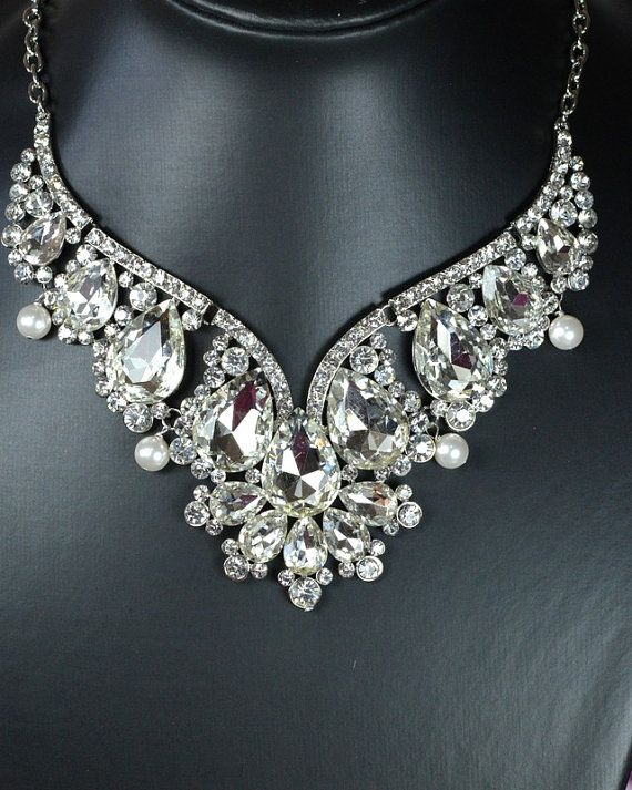 Bridal Statement Necklace Vintage Inspired Victorian Pearl Crystal Bib Wedding Jewelry Set Back Drop Bridesmaid Dream Pinterest