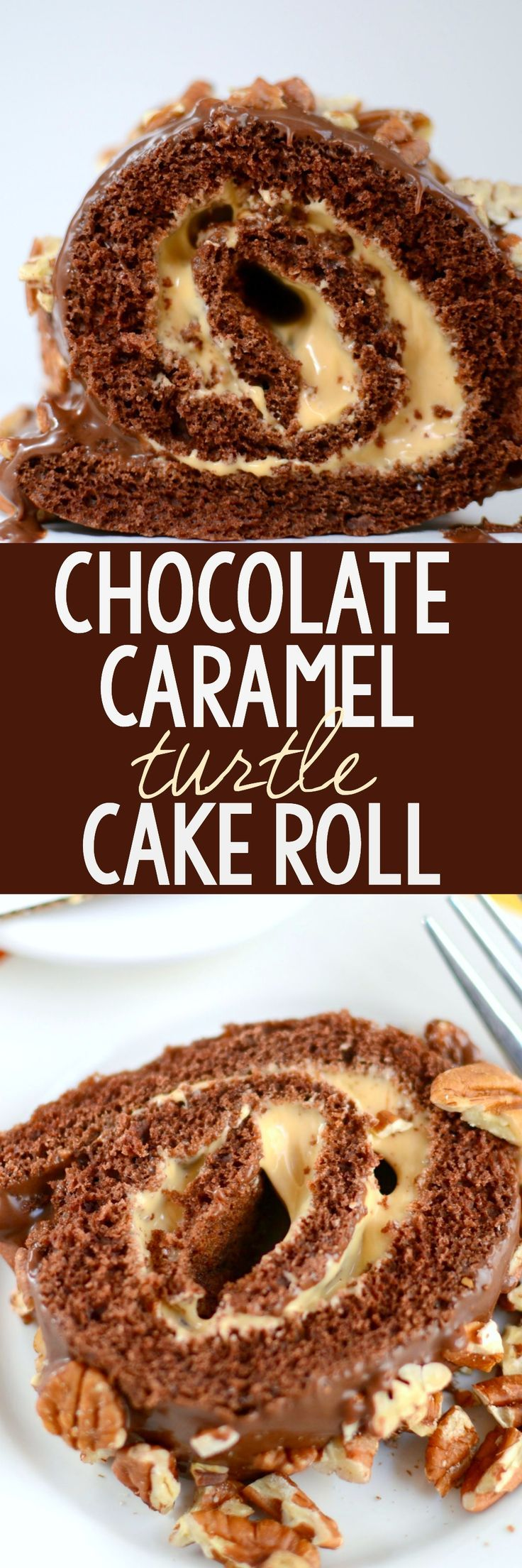 Chocolate Caramel Turtle Cake Roll - this EASY cake roll recipe starts with a cake mix! The chocolate cake roll is filled with caramel ganache and topped with chocolate ganache and pecans, like a turtle candy!