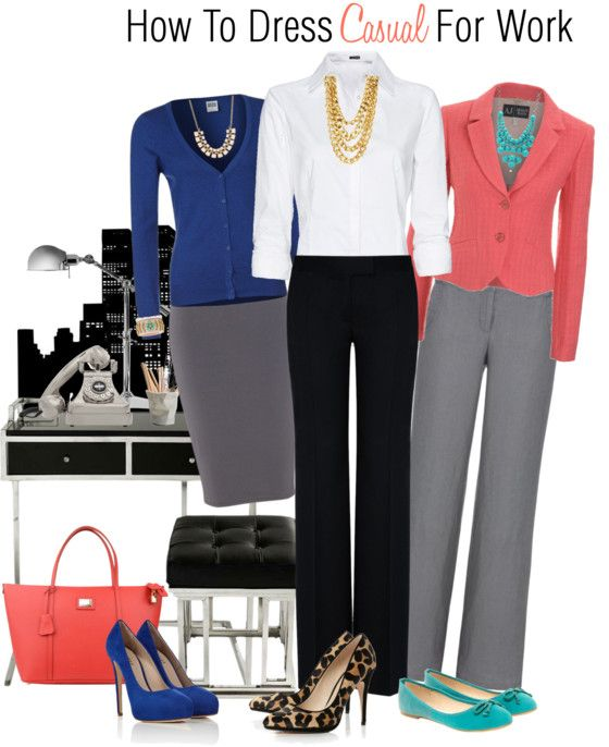 How To Dress Casual For Work ~ Looking professional on a job doesn't mean you have to wear a suit or dress overly conservative and boring, but dressing casual for work sometimes gets people confused, it certainly doesn't mean just rolling out of bed and throwing on a sweat shirt. Remember first impressions are lasting impressions. #fashion #style #styleadvice