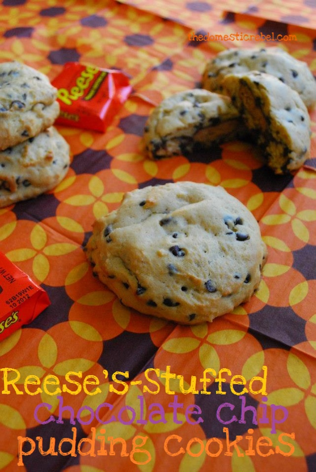 Reese's Stuffed Chocolate Chip Pudding Cookies. All my favorite things wrapped in one.