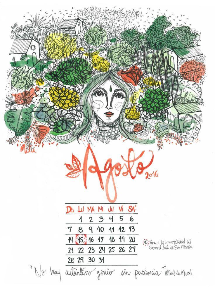 Calendario de Agosto 2016 Elaborado con Acuarelas y Bolígrafos. ©eva.milu