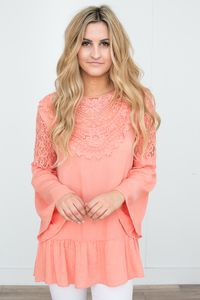 Lace Detail Bell Sleeve Tunic - Peach