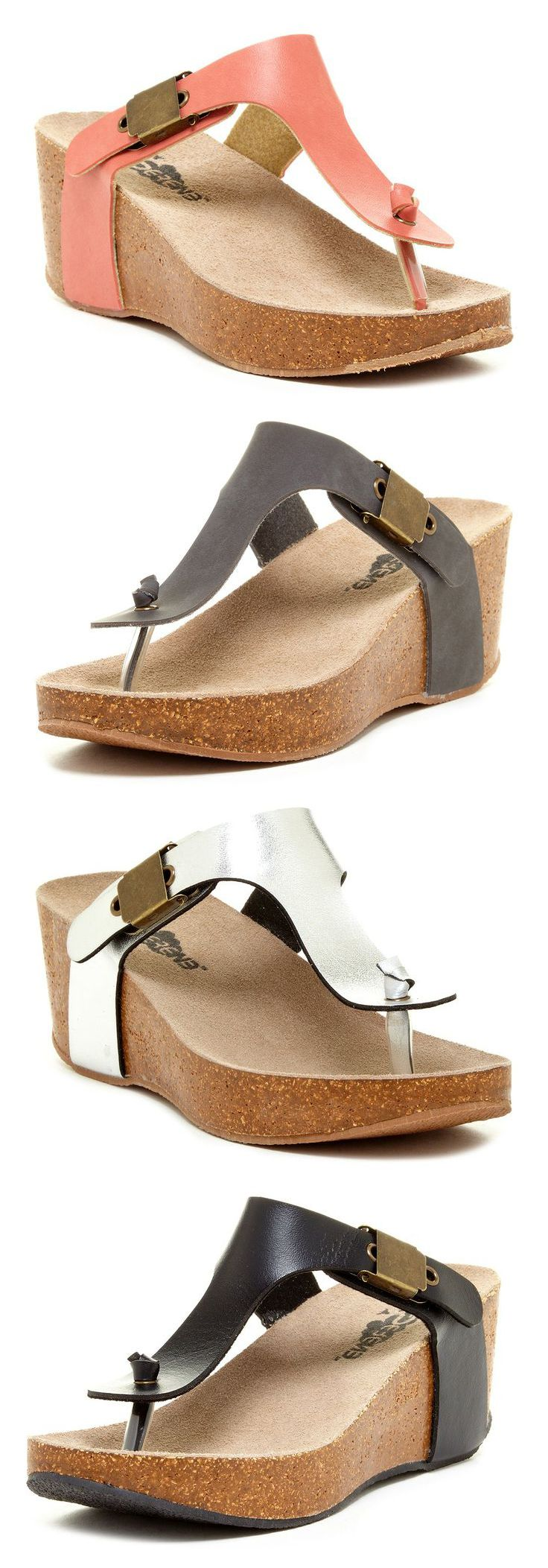 Serene Pettis Wedge Sandals in Coral, Grey, Pearl White, and Black