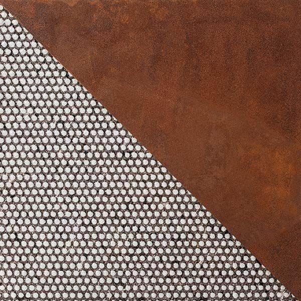 #Acicastello è un melting pot: dominazione araba e normanna, mare blu cobalto, roccia lavica. Abbiamo celebrato questo bellissimo paese con una trama unica, composta da #serigrafia perlata bianca e #acciaio corten.