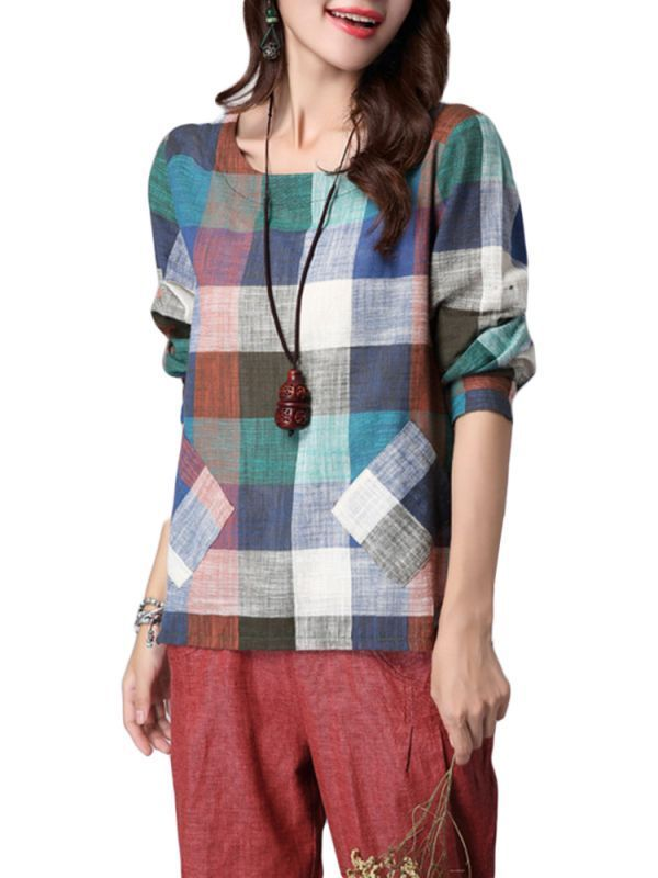 Women vintage ethnic style plaid pocket split cotton linen t-shirt t shirt girl photo #superman #t #shirt #girl #online #t #shirt #this #girl #loves #christmas #top #quality #womens #t #shirts #womens #plus #size #t #shirts #wholesale