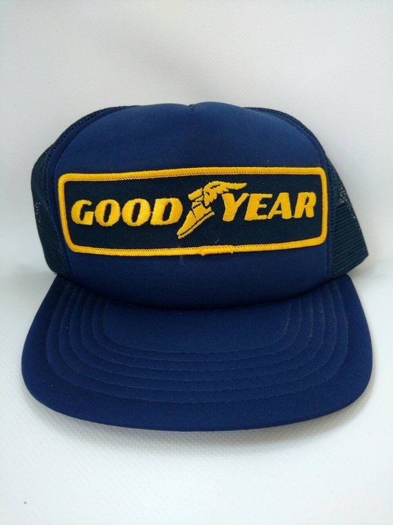 0839c019ed37c Goodyear Trucker Hat Blue Yellow