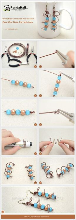 Jewelry Making Tutorial-How to Make Simple Wire Wrap Earrings | PandaHall Beads Jewelry Blog