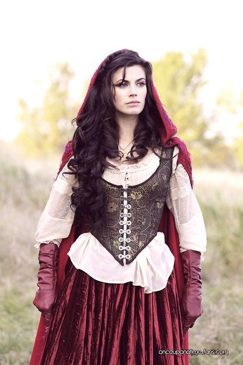 Red Riding Hood, Once Upon A Time. She always has cool outfits in her true self. Not the trashy stuff.