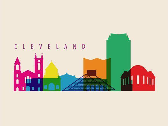 Cleveland City Skyline Illustration by IB on @creativemarket