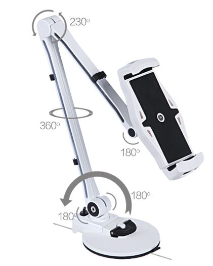 The Valet is a swing-arm tablet & cellphone stand. With multiple swivel and pivot points, this handy gadget lets you position your tech or other device where you need it. A classic gadget re-imagined for today's tech gadgets.