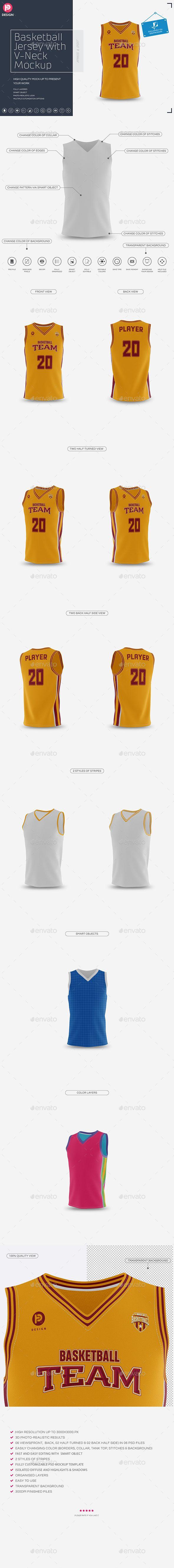 Basketball Jersey with V-Neck Mock-Up