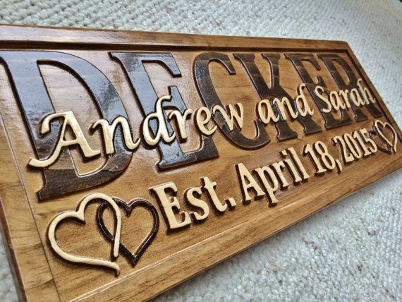 personalized wedding gift last name established by 3dwoodworker