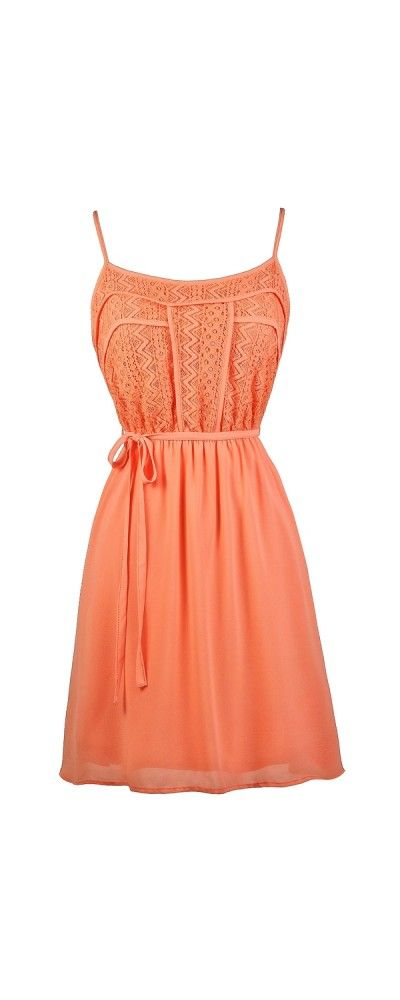 Lily Boutique Lace Designs Flowy Sundress in Orange Coral, $34 Orange Coral Lace Sundress www.lilyboutique.com