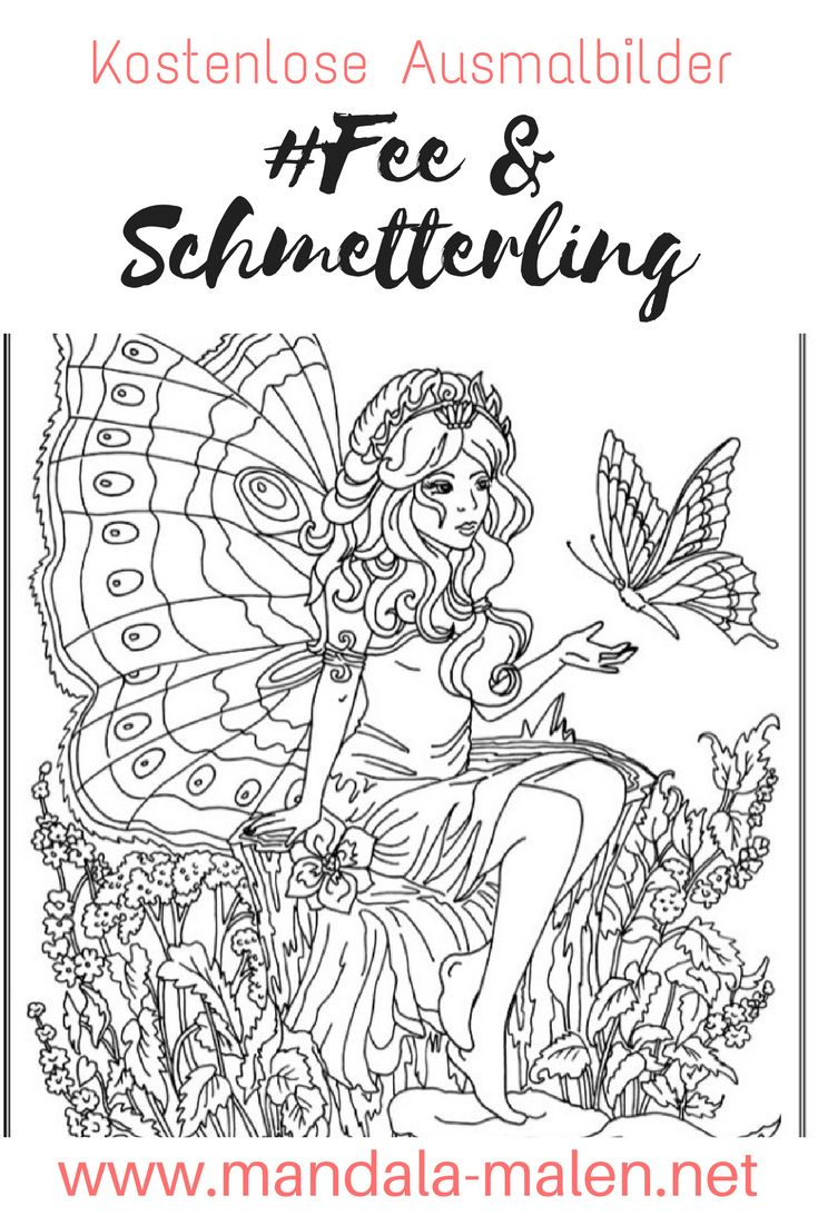 Ausmalbilder Mandala Schmetterling : 14 Best Ausmalbilder Elfen Und Feen Images On Pinterest Colouring