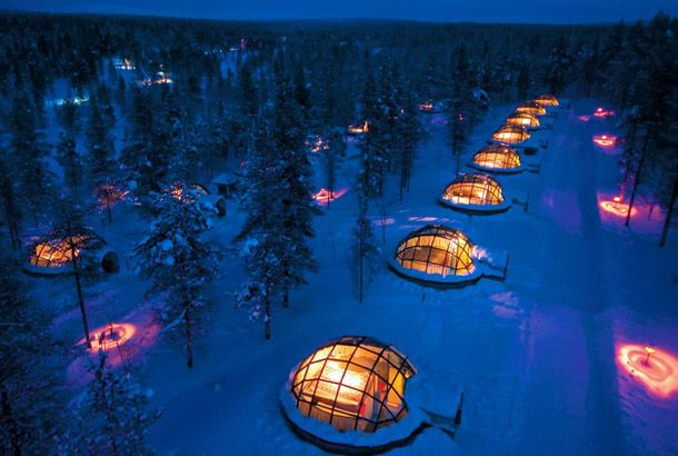 glass igloos in which you can view the night sky and norther lights right in your bed :: Hotel Kakslauttanen in Northern Finland