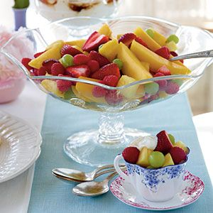 Fruit Salad with Yogurt: 4 cups fresh pineapple chunks $  1 qt. strawberries, hulled and sliced in half $  3 cups seedless green grapes  2 mangoes, peeled and sliced $  2 (4-oz.) containers fresh raspberries  2 cups Greek yogurt $  1 tablespoon dark brown sugar $  1 tablespoon honey