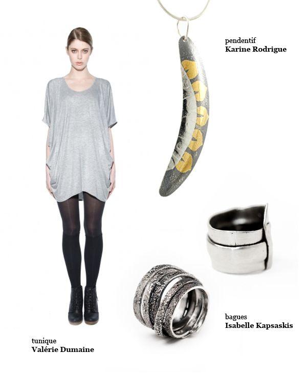 Karine Rodrigue Keum boo pendant and Isabelle Kapsaskis silver rings