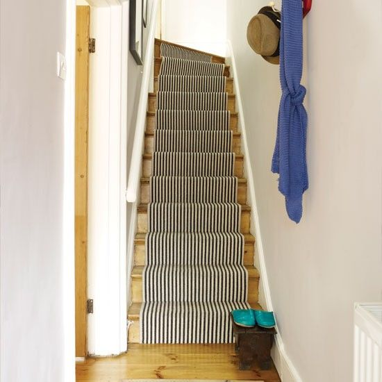 Neutral hallway with stair runner house tours retro - How to wallpaper stairs and landing ...