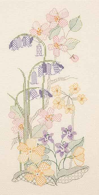 Spring Panel Blackwork Kit from Derwentwater Designs