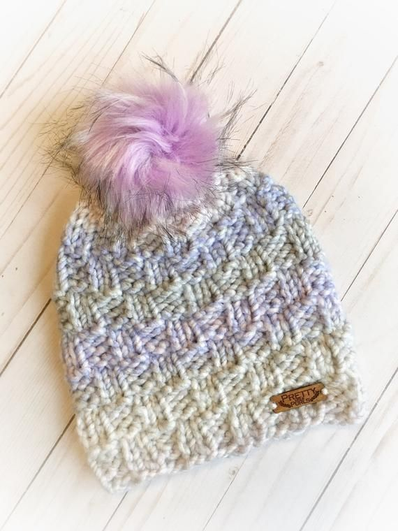 f1512f9ac6cc55 This Chunky Knit Pecan pattern winter hat is warm and soft, perfect for a  Canadian winter. With multicolored pastel stripes this toque will be fun  all ...