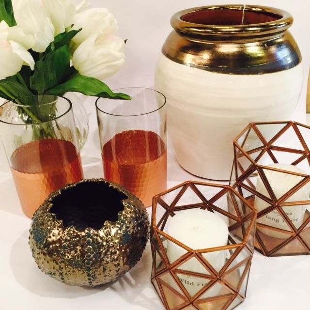 Copper and metallic candleholders