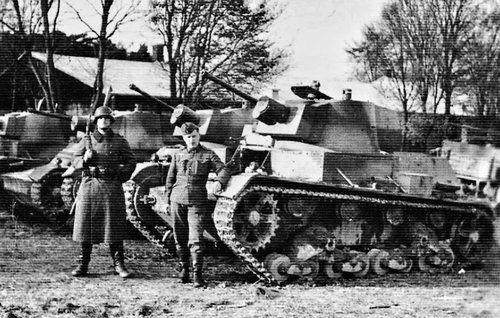 Captured 7TP light tanks by Germans