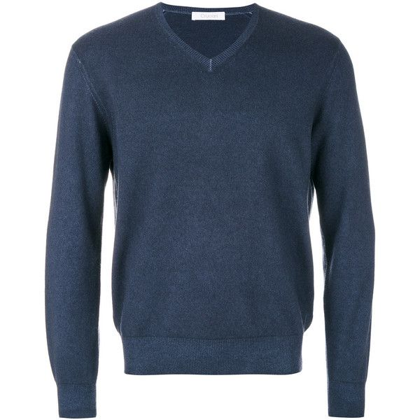 Cruciani v-neck jumper (1.585 BRL) ❤ liked on Polyvore featuring men's fashion, men's clothing, men's sweaters, blue, mens long sleeve v neck sweater, mens v neck sweater, mens navy blue v neck sweater, mens vneck sweater and mens cashmere sweaters
