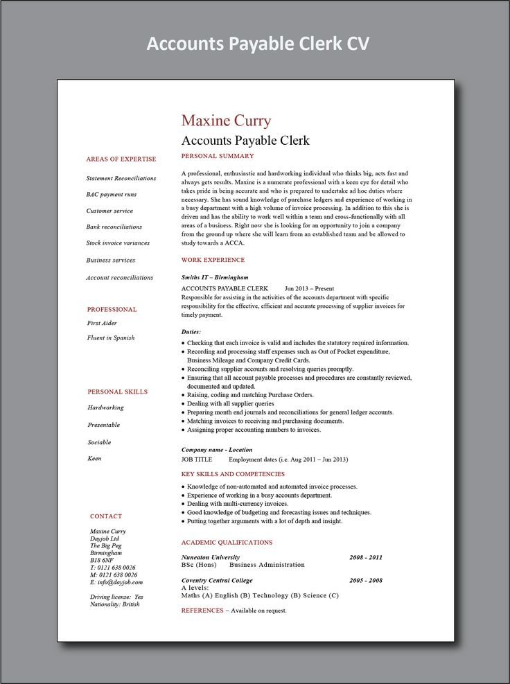 Accounts payable clerk resume project manager resume