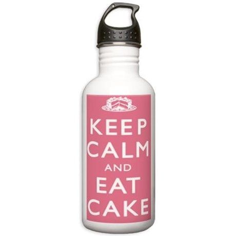 Keep Calm And Eat Cake Water Bottle on CafePress.com