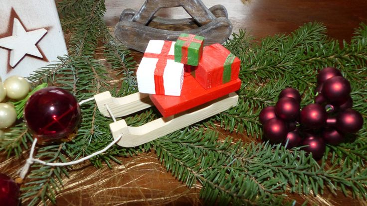Weihnachtsdeko - kleiner Weihnachtsschlitten als Deko - ein Designerstück von Andy1968 bei DaWanda