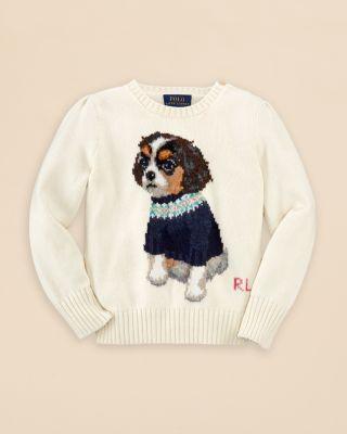 Ralph Lauren Girls' Dog Sweater - Sizes 2-6X | Bloomingdale's