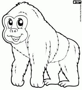 gorilla kleurplaat wilde dieren dieren kleurplaten dieren