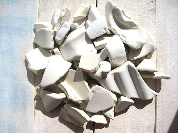 Sea Pottery // 40 pcs Ceramic Thick // Beach by CreteDriftwood